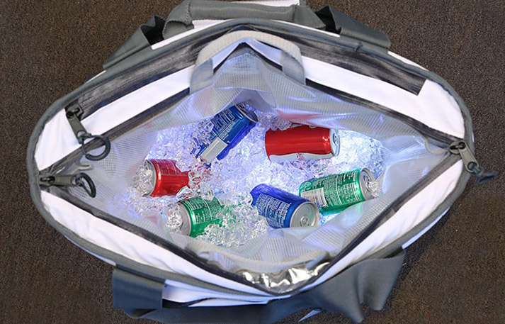 engel soft-side backpack cooler filled with ice and soda