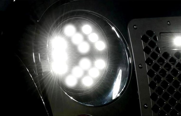 putco luminex led jeep headlights on highbeam