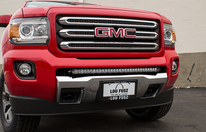 2016 red GMC Canyon with all-terrain 30-inch led light bar mounted on grille