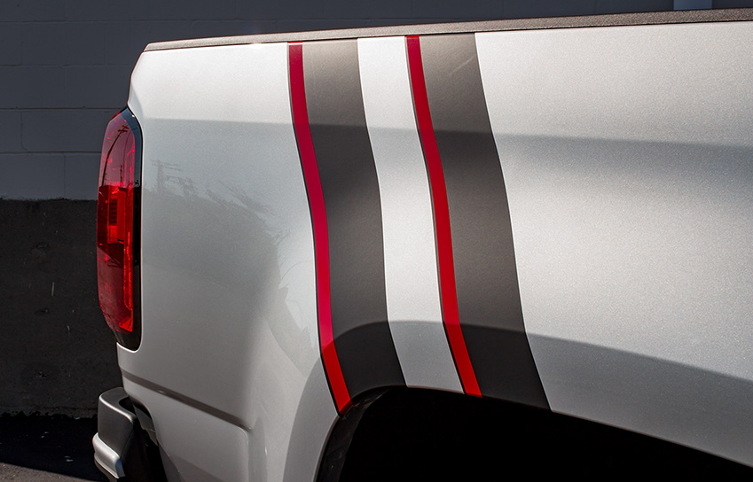 2016 chevrolet colorado nightrunner with custom black and red vinyl bed stripes
