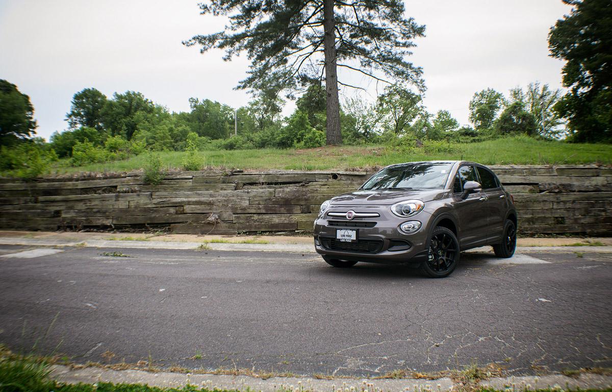 2017 Fiat 500 with black Enkei Wheels dynamic