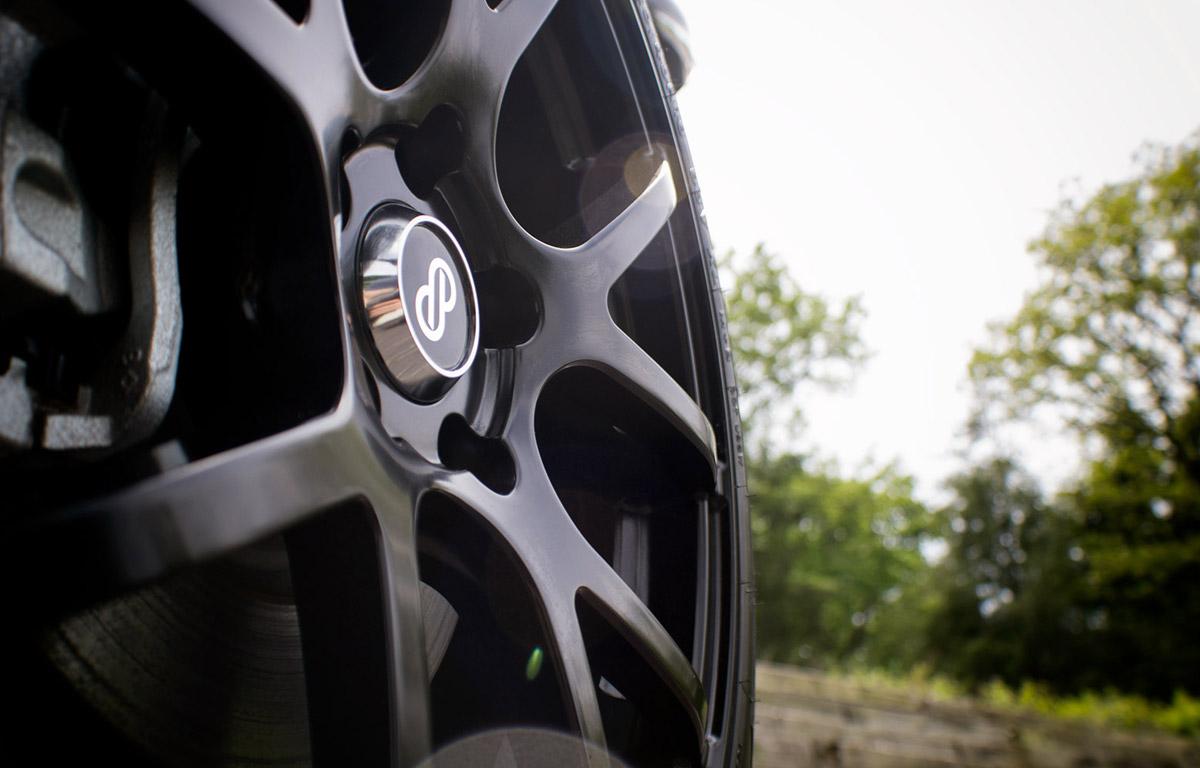 2017 Fiat 500 with black Enkei Wheels dynamic view