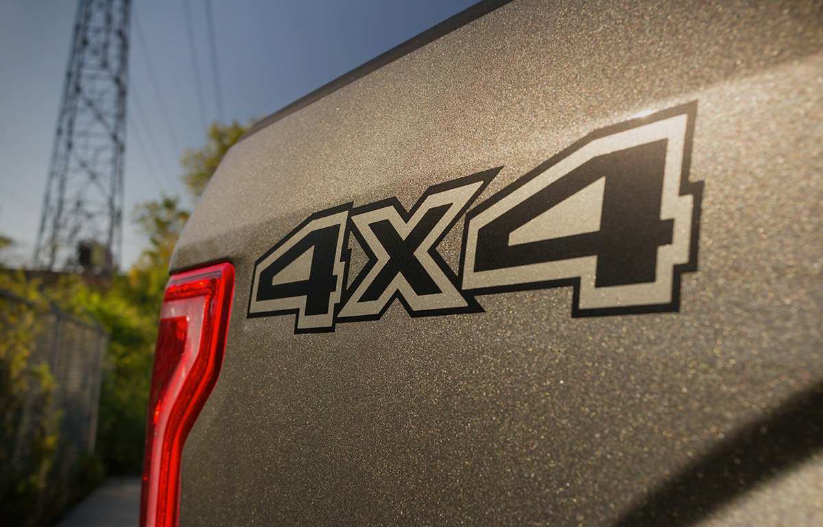 fuel off-road package on a 2016 Ford F150 with custom 4x4 Decal vinyl
