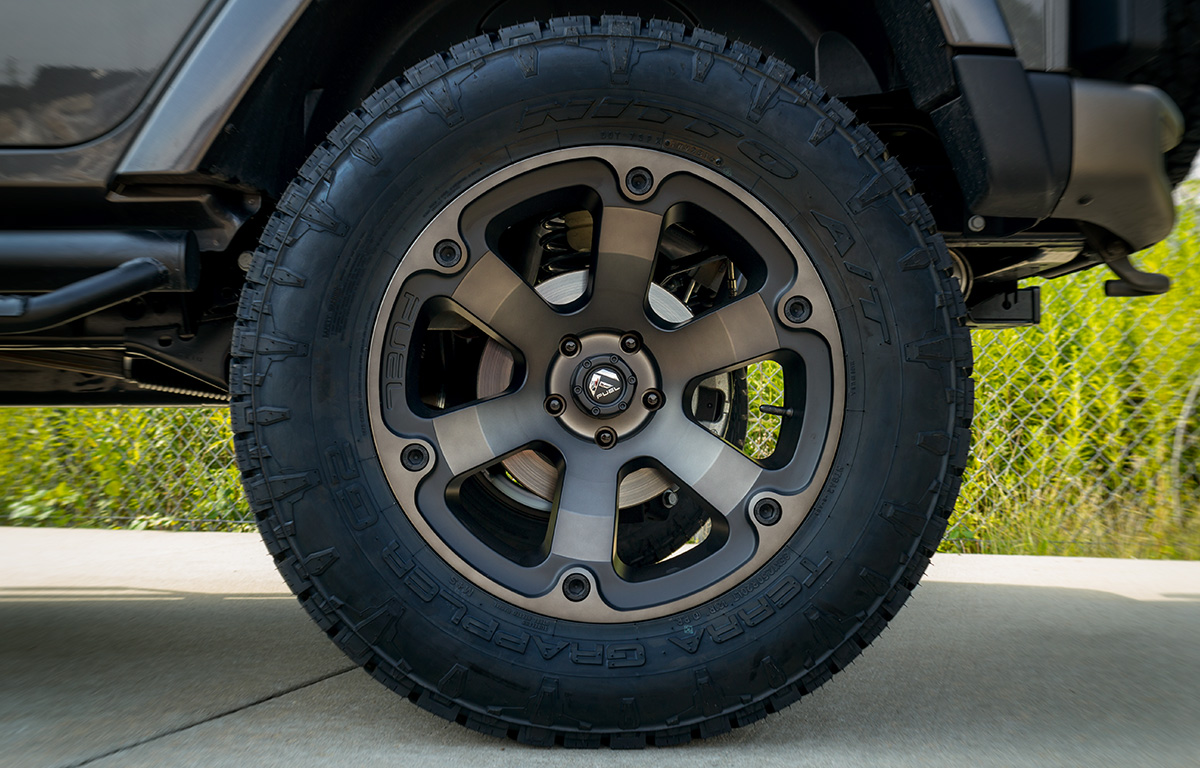 fuel beast wheels and 35-inch nitto tires on a 2016 jeep wrangler unlimited