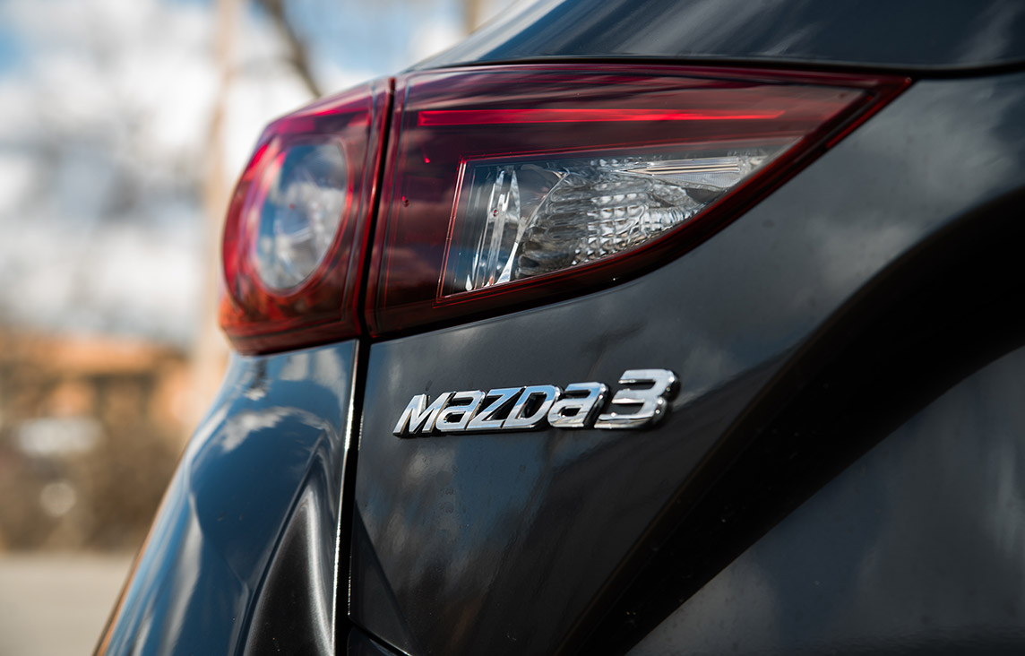 2018 Mazda 3 Hatchback Enkei Sport Package with badge close up