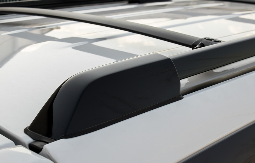 black painted roof rack rails on a custom 2016 toyota 4runner sr5