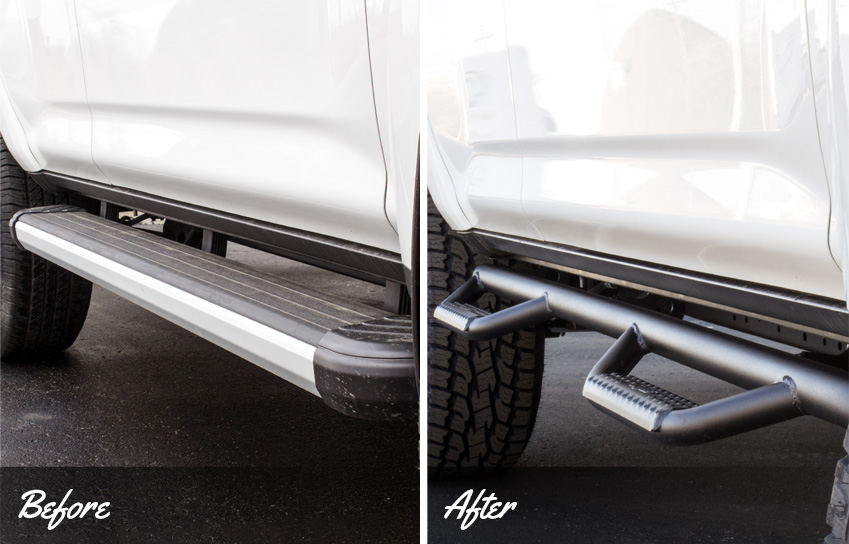 before and after of n-fab drop steps on a custom 2016 toyota 4runner sr5