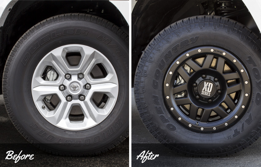 before and after of kmc xd series wheels on a custom 2016 toyota 4runner sr5