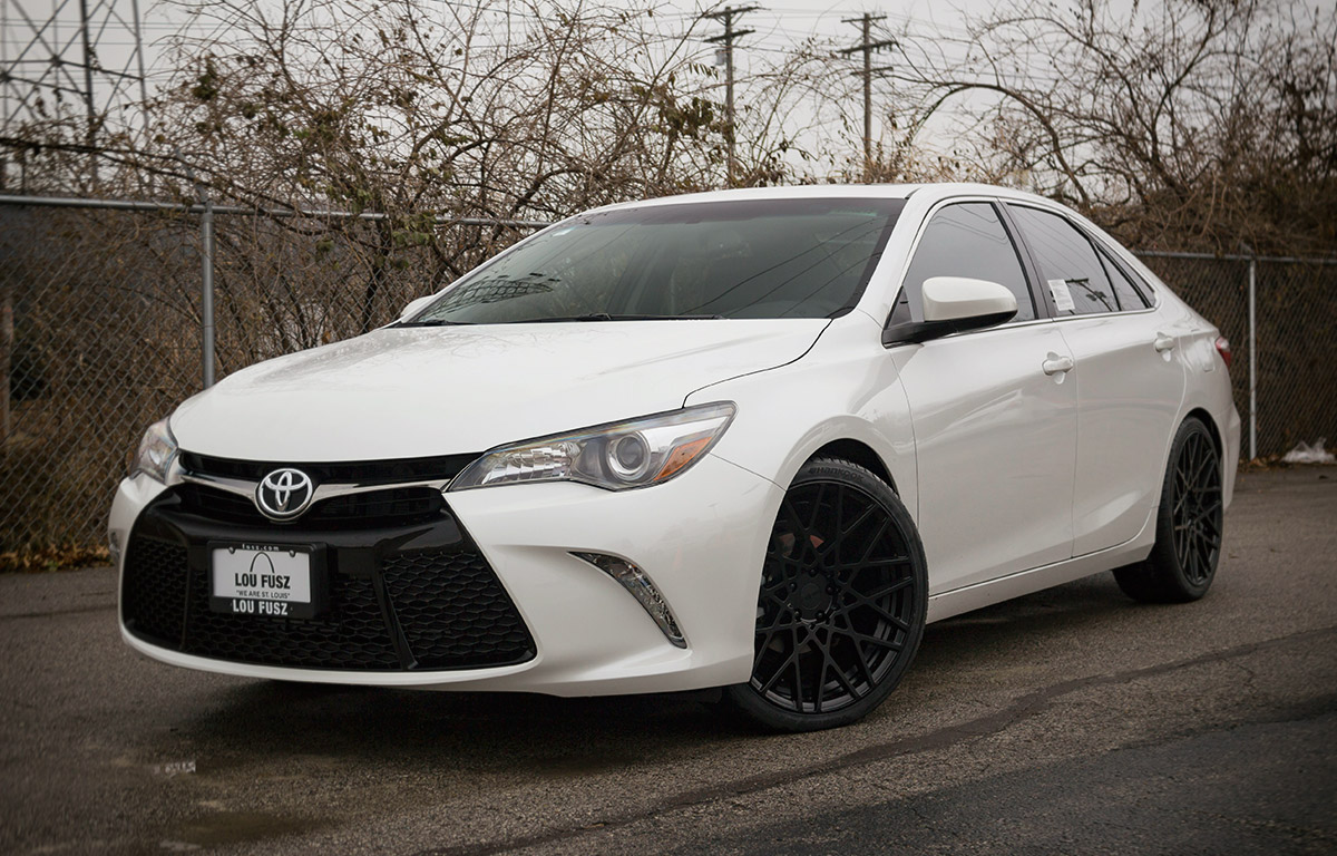 2017 White Camry Lowered with Rotiform 20 inch Wheels